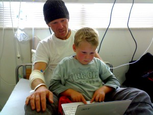 Daddy and Ethan geeking in hospital