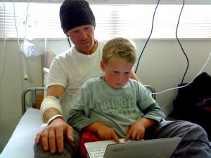 Daddy and Ethan geeking in hospital