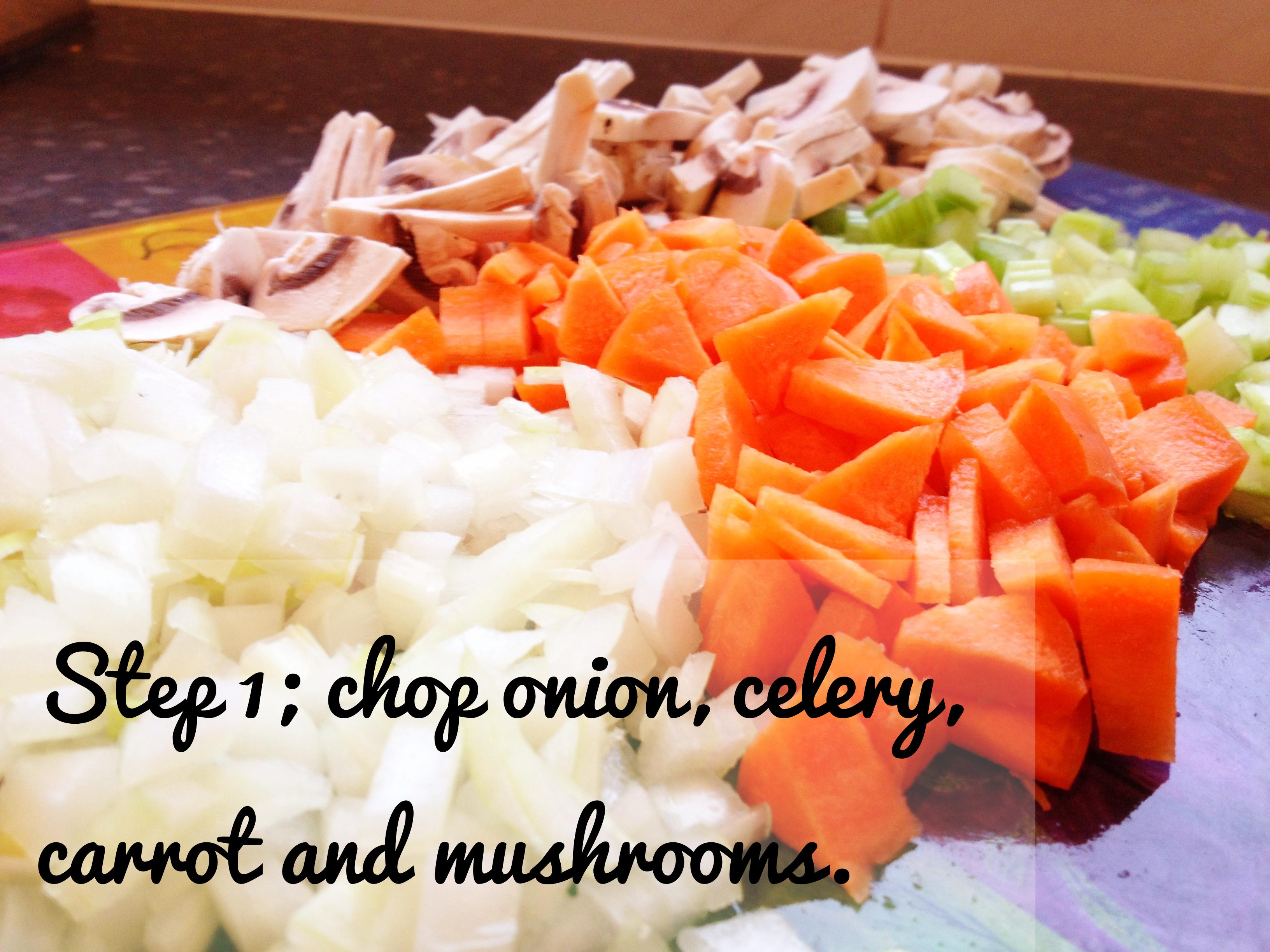 Fish pie recipe: Chop veges